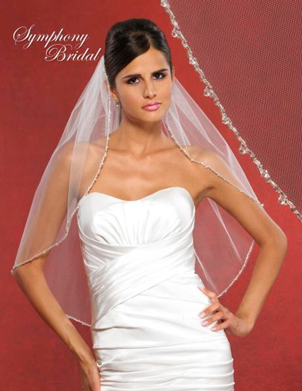 Symphony Bridal Crystal Beaded Edge Wedding Veil 5905VL