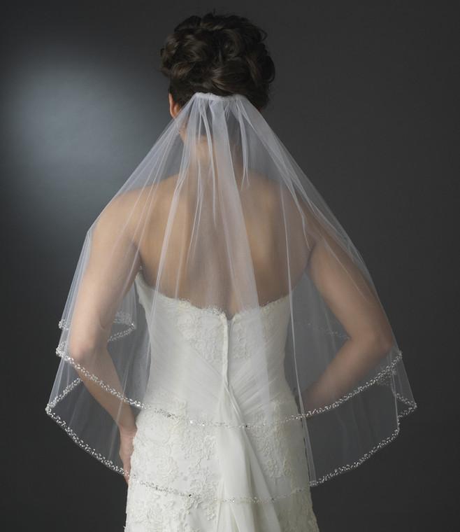 Two Layer Beaded Edge Elbow Length Bridal Veil