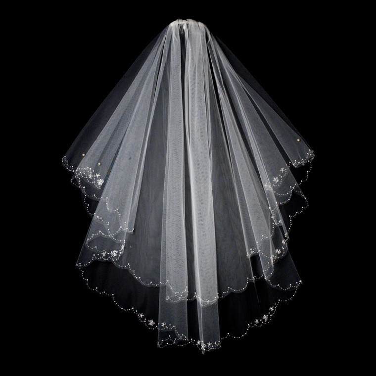 Two Layer Floral Beaded Fingertip Wedding Veil