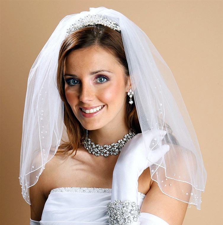 Two Layer Shoulder Length Veil with Pearls and Sequins