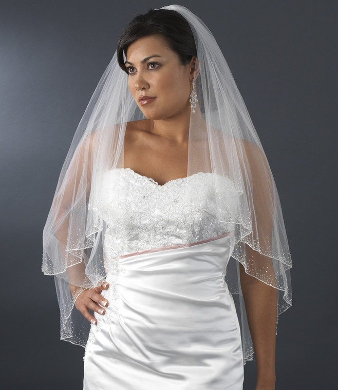 Two Layer Fingertip Wedding Veil with Crystal Beaded Edge