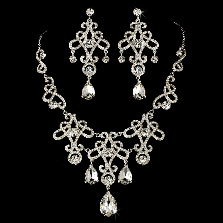 Vintage Inspired Bridal Necklace and Chandelier Earrings