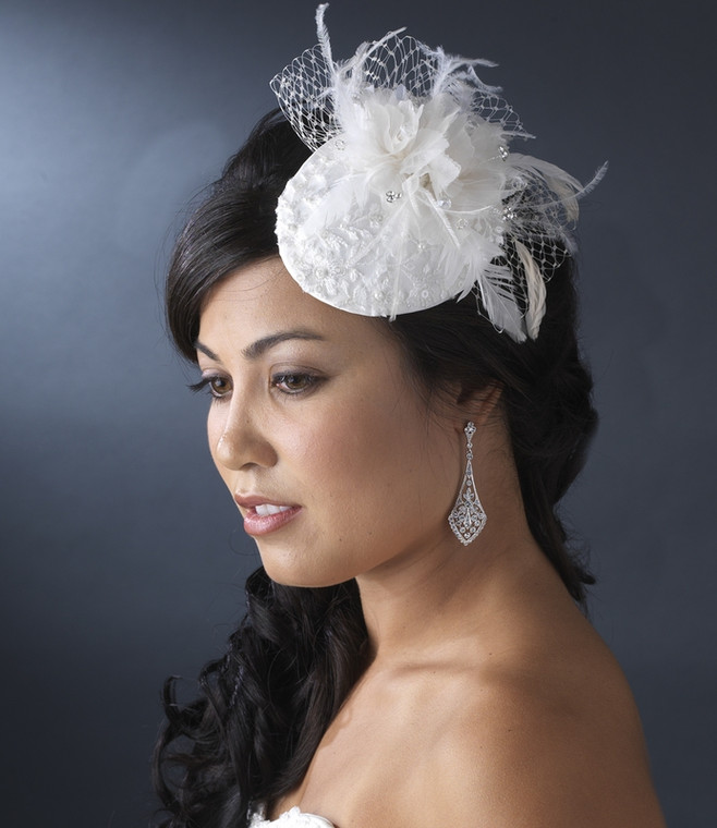 White Vintage Inspired Bridal Hat with Feathers and Crystals