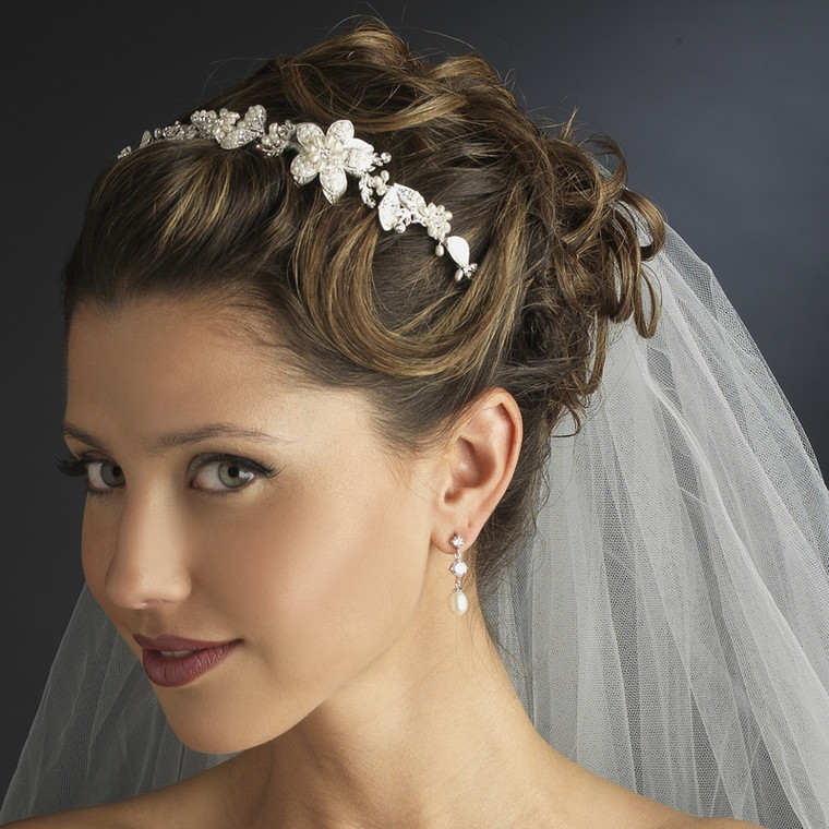 Vintage Look Pearl and Crystal Side Accent Bridal Headband