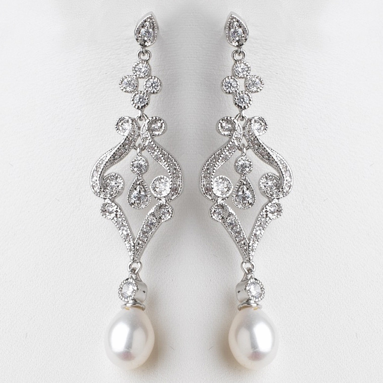 Vintage Style Cubic Zirconia and Pearl Wedding Earrings