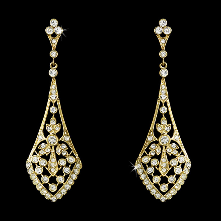 Vintage Style Cubic Zirconia Gold Bridal Earrings