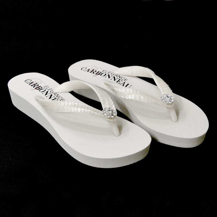 White Low Heel Wedge Bridal Flip Flops with Sequins Size 7