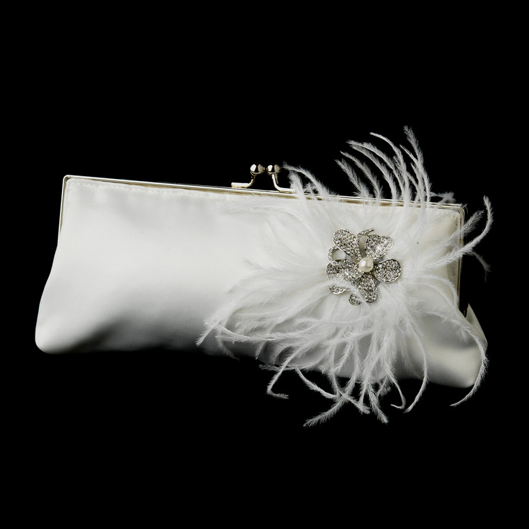 White or Ivory Satin Wedding Purse with Feathers