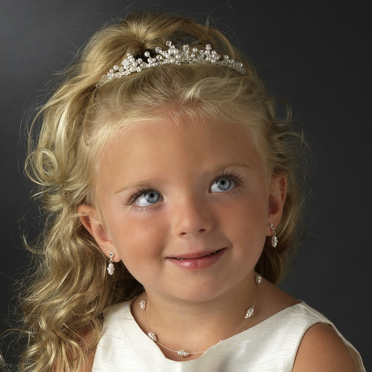 White Pearl and Crystal Flower Girl Tiara