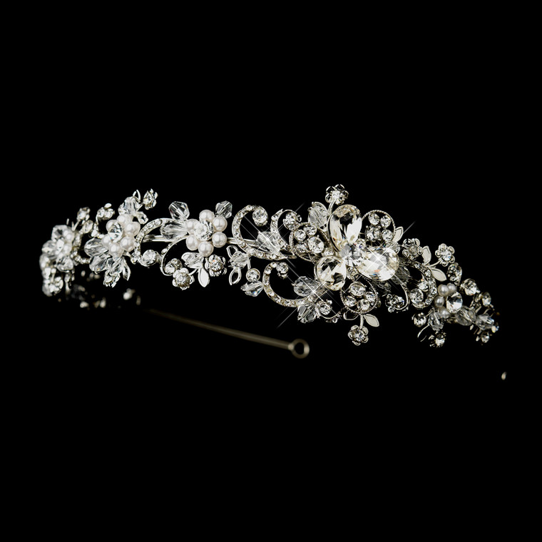 White Pearl and Crystal Side Accent Wedding Headband
