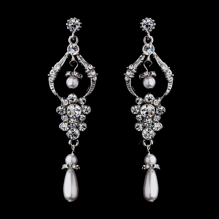 White Pearl Antique Silver Chandelier Wedding Earrings