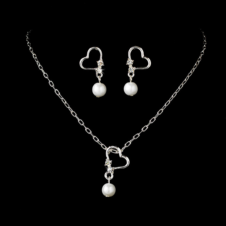 White Pearl with Silver Heart Child's Jewelry Set