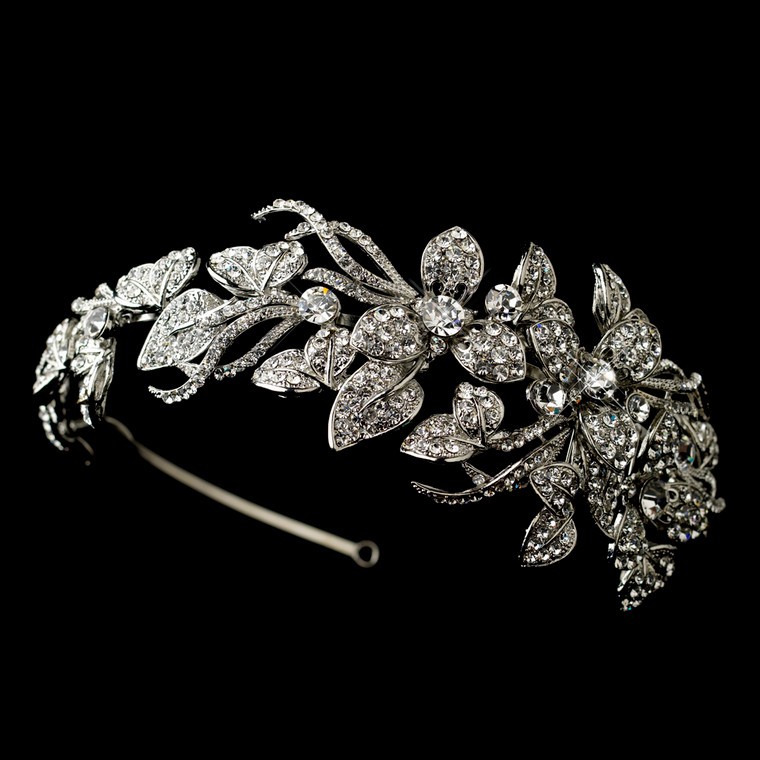 Antique Silver Rhinestone Flower Vine Wedding Headband
