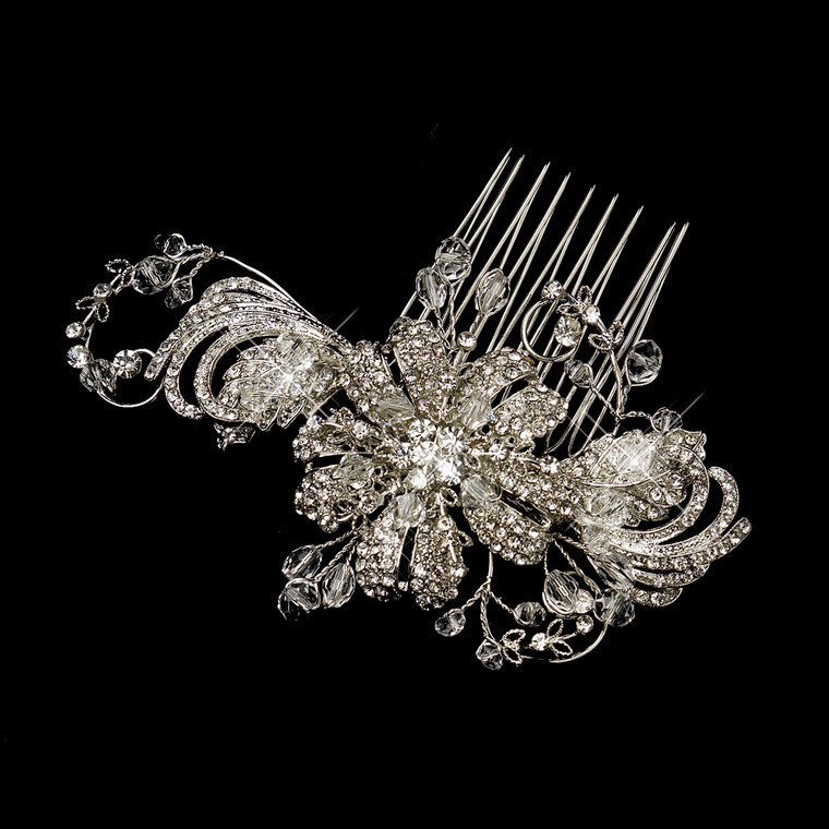 Vintage Swirl and Leaves Wedding Hair Comb