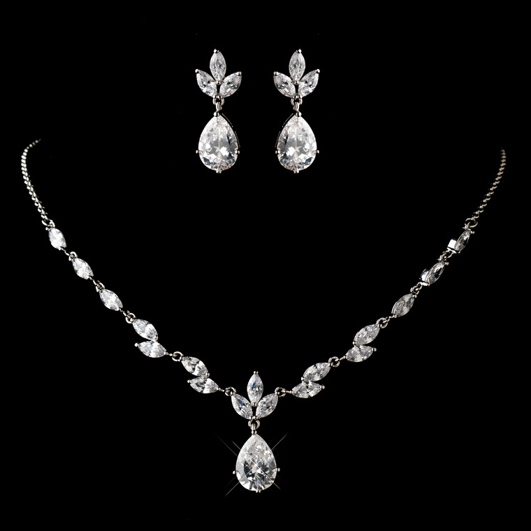 Dainty CZ Wedding Jewelry Set  - Silver, Gold or Rose Gold
