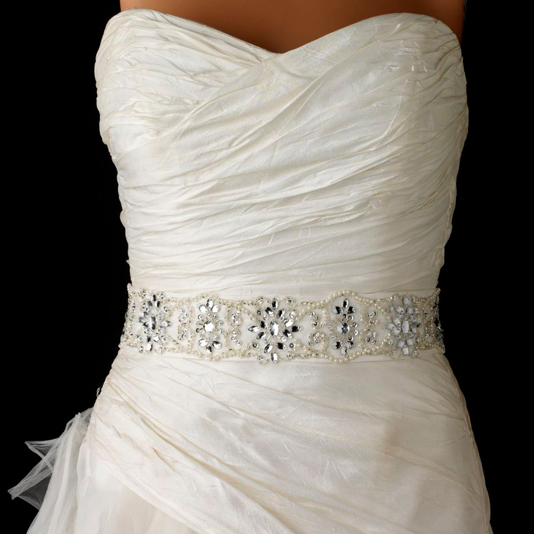 Elaborate Pearl and Rhinestone Beaded Wedding Belt Sash