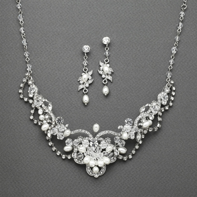 Freshwater Pearl and Crystal Wedding Jewelry Mariell  4061S - sale!