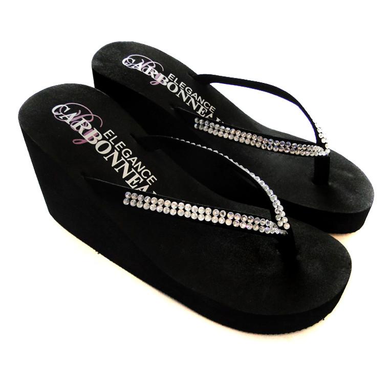 Black High Wedge Flip Flops with Crystal Straps