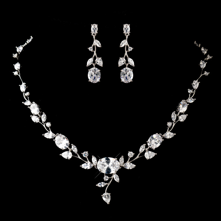 Antique Silver Plated CZ Floral Design Jewelry Set