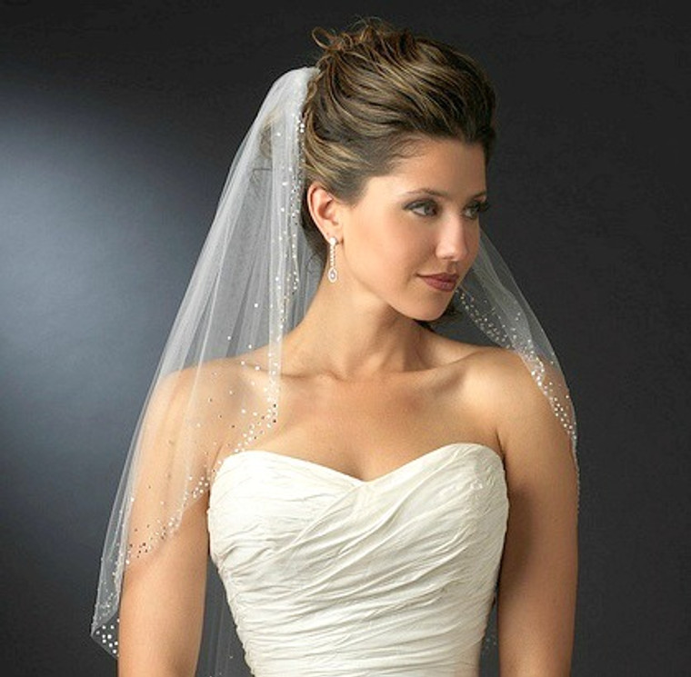 Dazzling Rhinestone Accented Elbow Length Wedding Veil