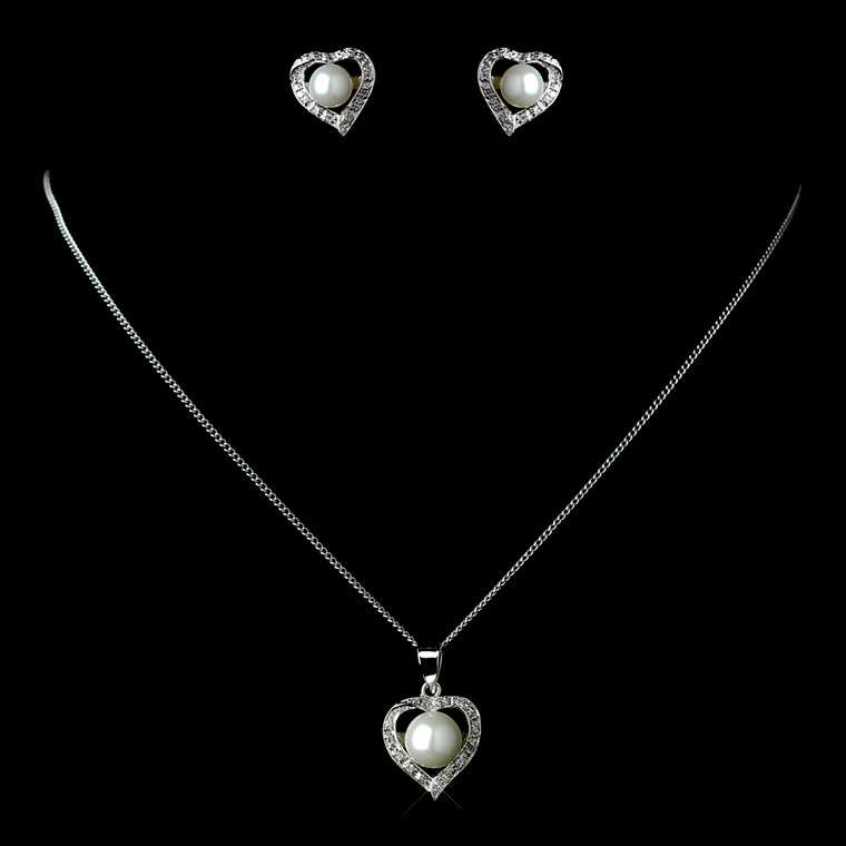 5 Sets Boxed Pearl and CZ Silver Heart Bridesmaid Jewelry