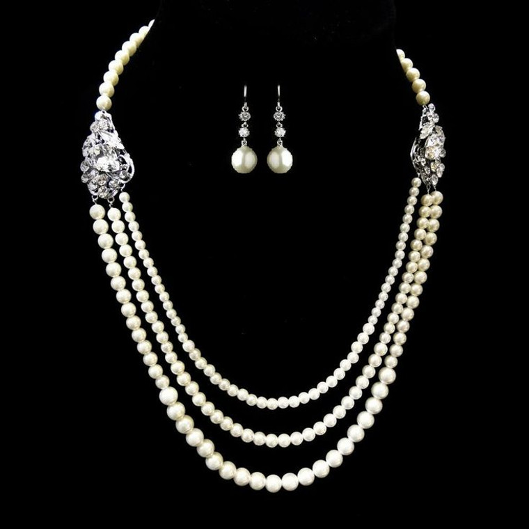 Three Row Pearl Wedding Necklace and Earring Set
