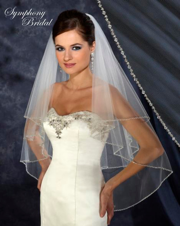 Dazzling Symphony Bridal Two Layer Beaded Wedding Veil 6328vl