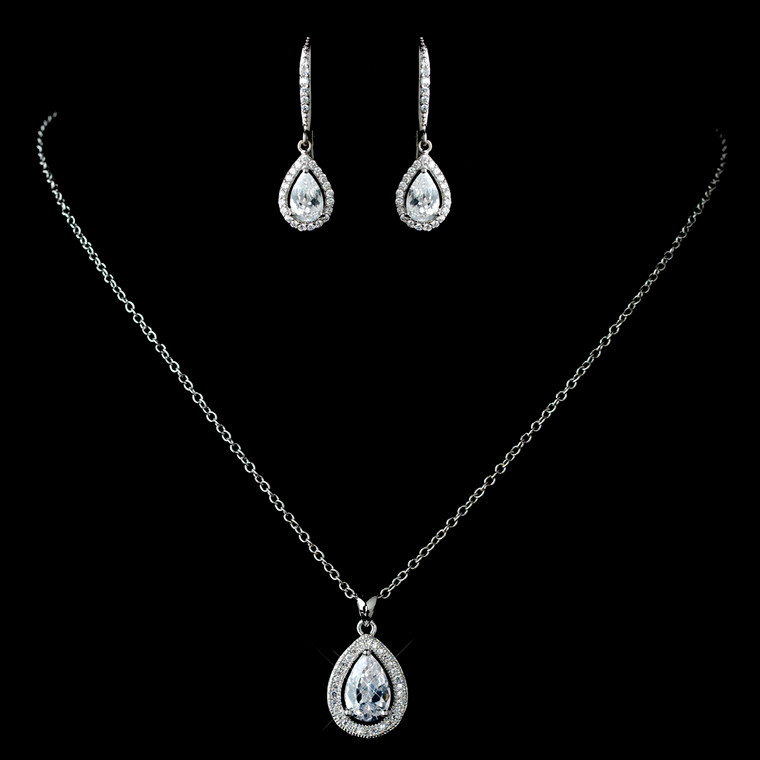 Rhodium Plated CZ Pendant and Leverback Earrings
