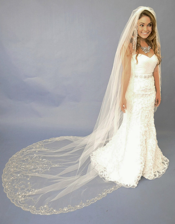 Beaded Cathedral Wedding Veil Elena Designs E1122L1