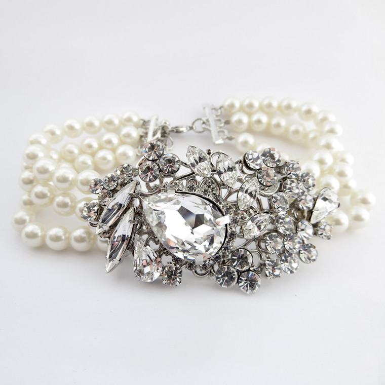 Antique Silver Rhinestone and Pearl Wedding Bracelet
