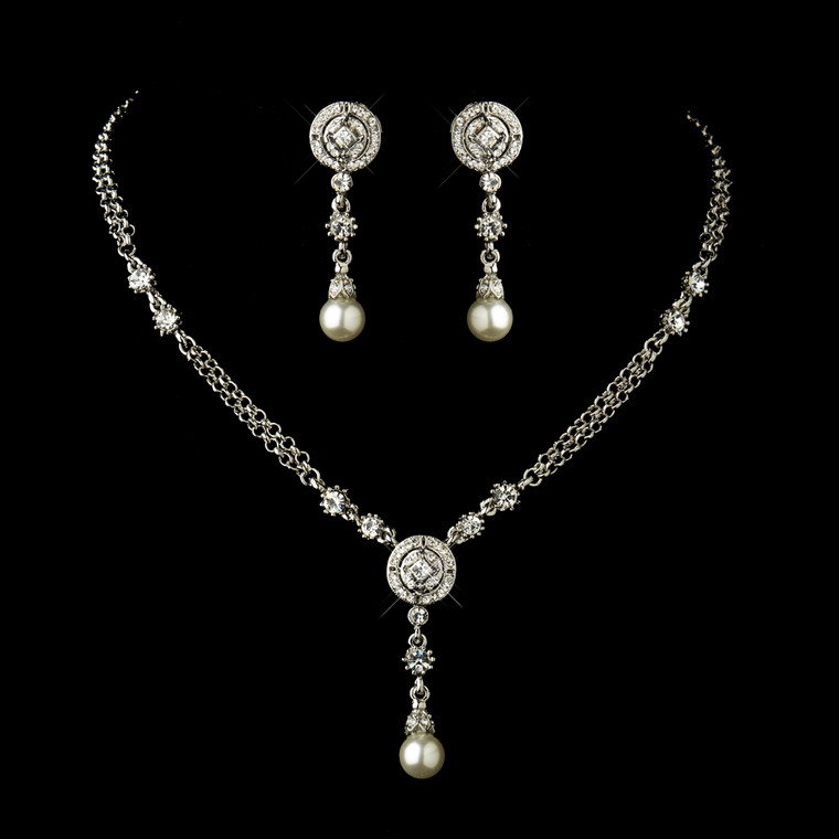 Antique Silver Crystal and Pearl Vintage look Wedding Jewelry