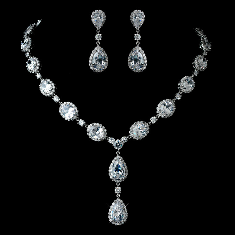 Stunning Wedding Jewelry Set with Oval and Teardrop CZ Crystals