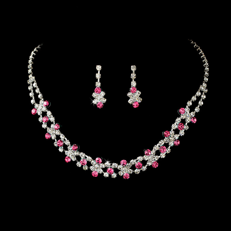 5 Sets Boxed Pink and Clear Rhinestone Bridesmaid Jewelry
