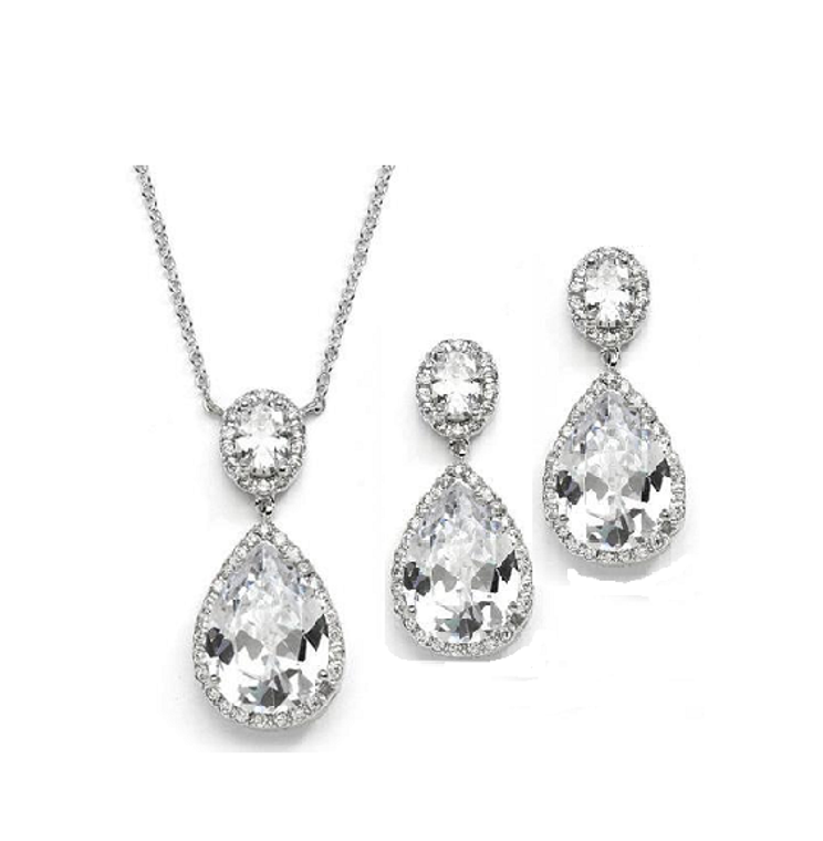 Couture Pear Shaped CZ Pendant and Earrings Jewelry Set
