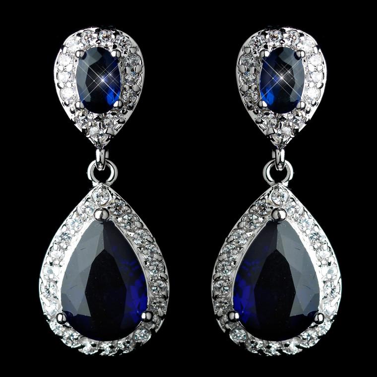 Sapphire Blue Tear Drop CZ Crystal Wedding Earrings