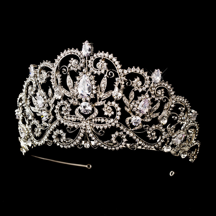 """3 1/2"""" Tall Wedding and Quinceanera Tiara in Silver or Gold - sale!"""