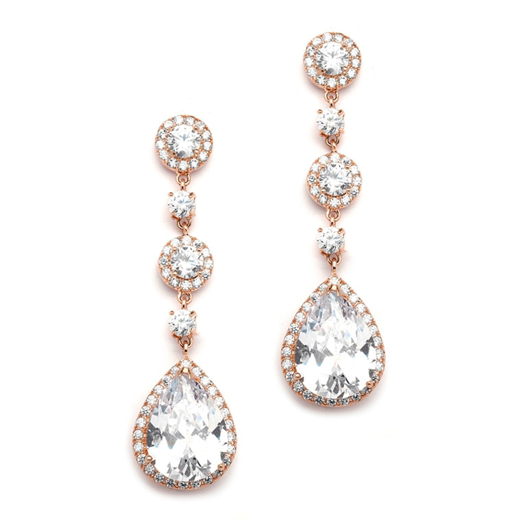 Rose Gold Pear CZ Drop Wedding or Prom Earrings - Pierced or Clip On