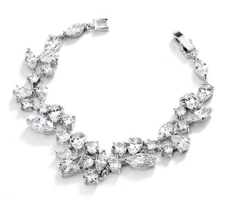 Mosaic CZ Wedding Bracelet in Silver Rhodium - Petite Size