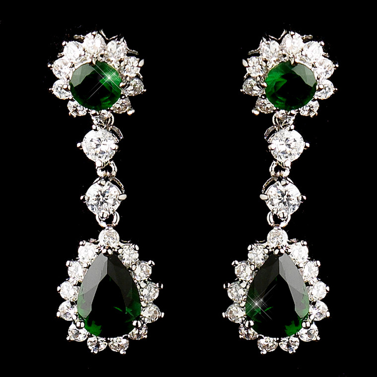 Emerald Green CZ Drop Earrings for Weddings and Prom