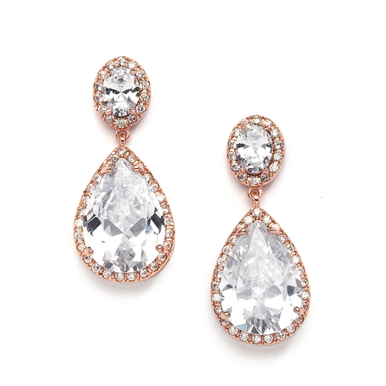 Couture Rose Gold CZ Drop Bridal Earrings 2074E - pierced or clip