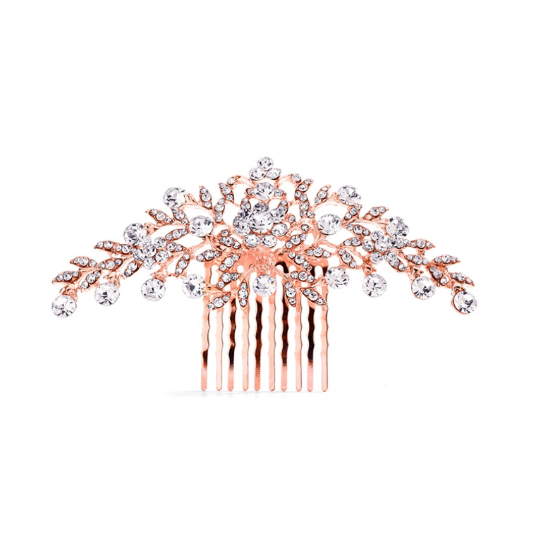 Rose Gold Hair Comb with Shimmering Leaves