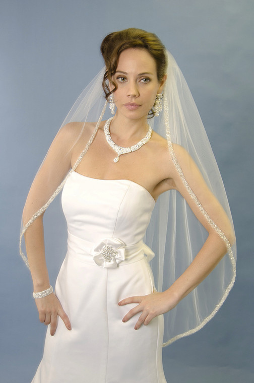 Heavily Beaded Edge Fingertip or Cathedral Wedding Veil Ansonia 264