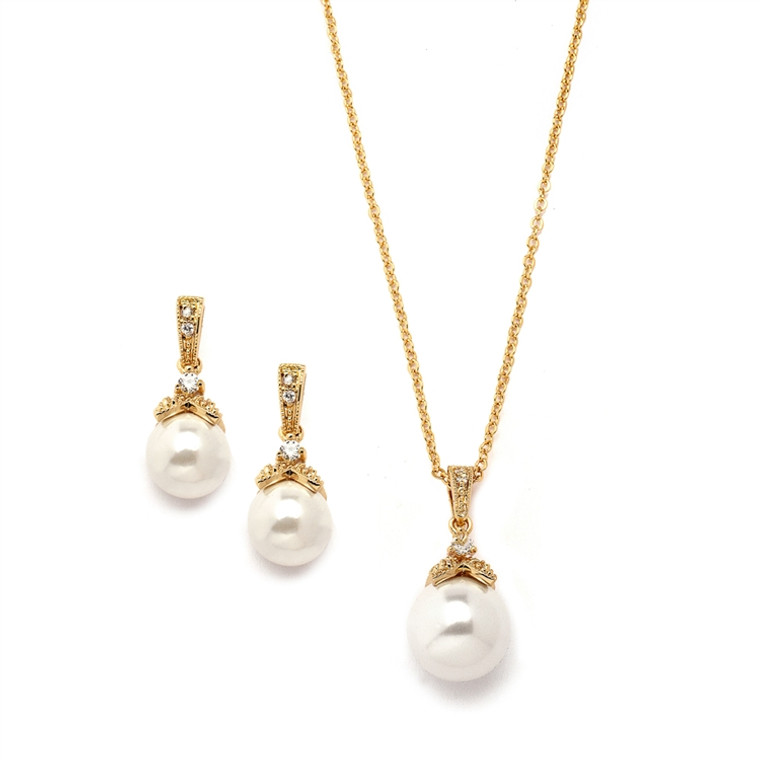 Gold Mariell Pearl and CZ Bridal and Bridesmaid Jewelry 3045S-G