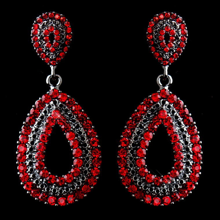 Antique Silver Red Rhinestone Drop Wedding Earrings