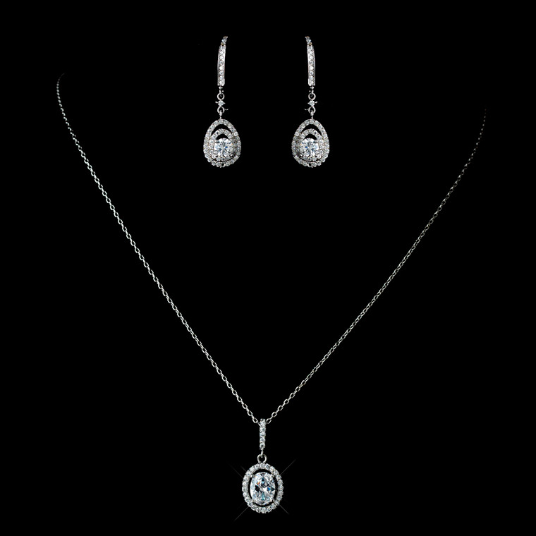 CZ Oval Pendant Drop Necklace and Earring Wedding Jewelry Set