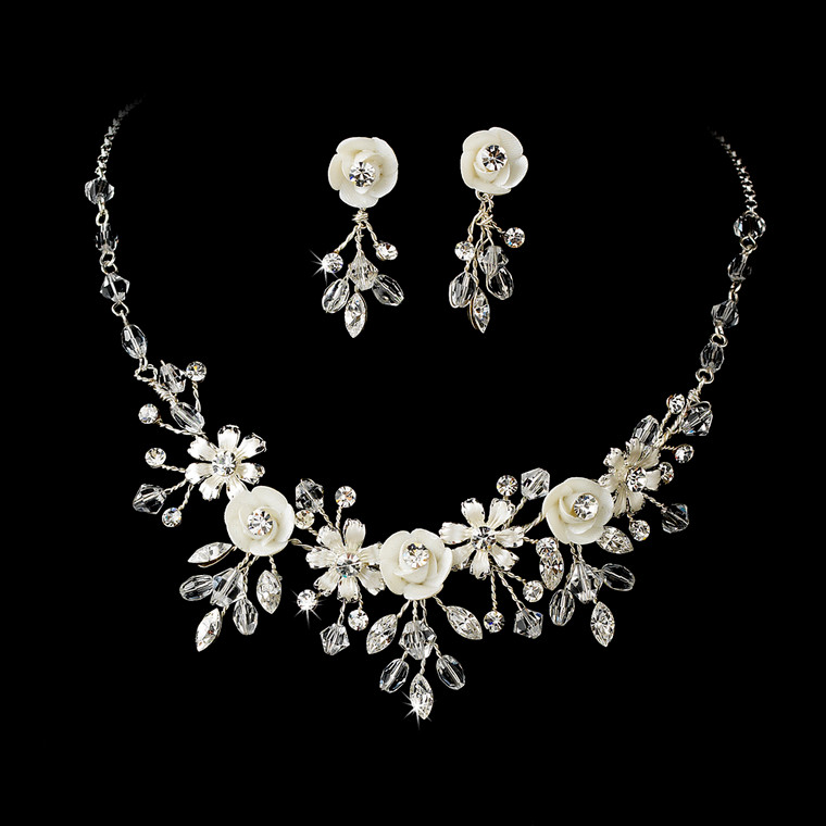 Porcelain Flower Silver Plated Wedding Jewelry Set