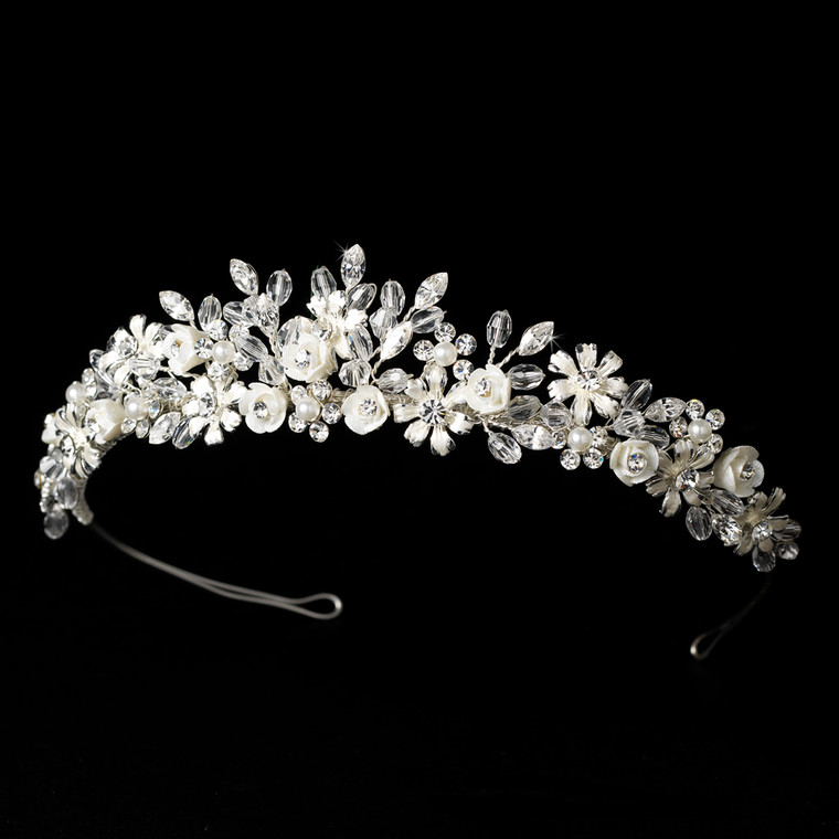 Porcelain Flower and Pearl Floral Bouquet Wedding Tiara