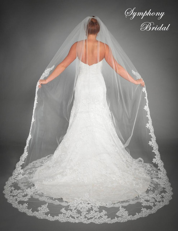 Lace edge Cathedral Length Wedding Veil 6435VL by Symphony Bridal