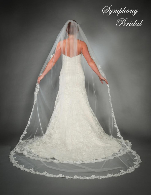 Lace edge Cathedral Length Wedding Veil 6443VL by Symphony Bridal
