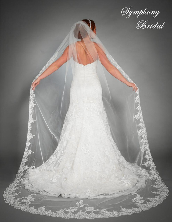 Lace Cathedral Length Wedding Veil 6442VL by Symphony Bridal